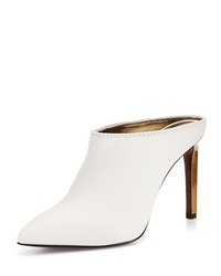 Leather Point Toe Mule Slide White Lanvin