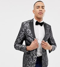 Jacamo Tall Jaquard Party Blazer In Grey