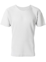 Homme Plisse Issey Miyake Ribbed Effect T Shirt Polyester Grey