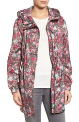 Joules Women's Right As Rain Packable Print Hooded Raincoat Deep Camouflage Floral