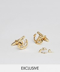 Designb Gold Anchor Cufflinks And Lapel Pin In 2 Pack Exclusive To Asos
