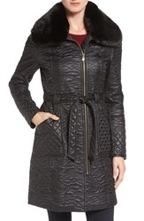 Via Spiga Women's Paisley Quilted Coat With Faux Fur Collar Black
