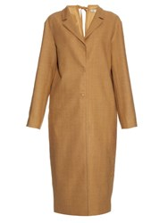Nina Ricci Cut Out Back Silk Noil Tench Coat Beige