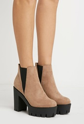 Forever 21 Faux Suede Zipped Booties Taupe