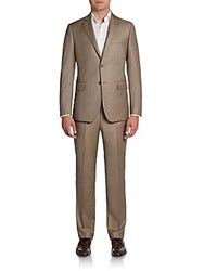 Saks Fifth Avenue Black Slim Fit Sharkskin Wool Suit Tan