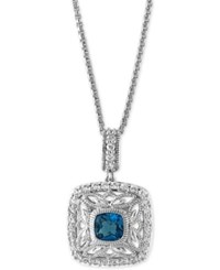 Effy London Blue Topaz 1 1 4 Ct. T.W. And White Sapphire 1 2 Ct. T.W. Pendant Necklace In Sterling Silver