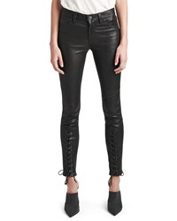 Hudson Nico Mid Rise Super Skinny Leather Lace Up Pants Black