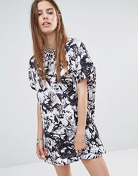 Noisy May Tunic Dress In Shattered Print Black White Print Multi