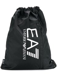 Emporio Armani Ea7 Drawstring Logo Backpack Black