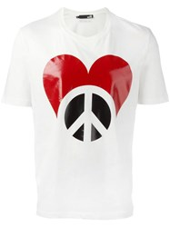 Love Moschino 'Peace' Print T Shirt White