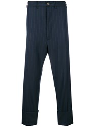 Vivienne Westwood Striped Cropped Trousers Blue