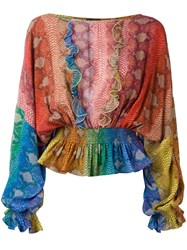 Just Cavalli Gathered Ruffle Blouse