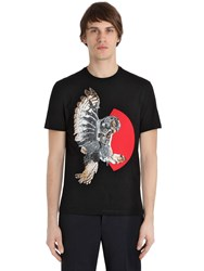 Neil Barrett Owl Printed Cotton Jersey T Shirt
