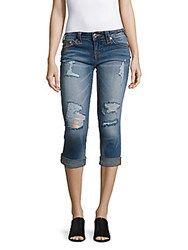True Religion Rolled Denim Capri Jeans Blue
