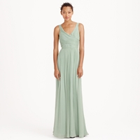 J.Crew Petite Heidi Long Dress In Silk Chiffon