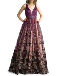 Basix Ii Sweetheart Floral Embroidered Gown Purple