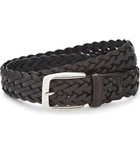 Canali Woven Leather Belt Brown
