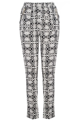 Quiz Black Tile Print Zip Trousers