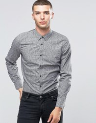 Sisley Slim Fit Shirt With All Over Disty Print Ditsy 941 Black