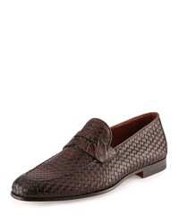 Magnanni Woven Leather And Alligator Penny Loafer Brown Men's