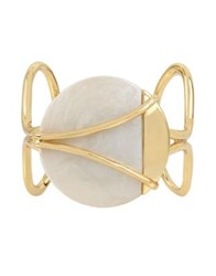 H Halston Rising Moon Crystal Pearlized Open Cuff Bracelet Gold