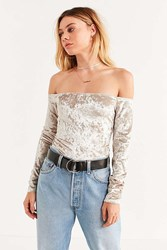 Urban Outfitters Uo Off The Shoulder Velvet Top Cream