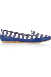 Charles Philip Gaby Striped Matte Satin And Leather Slip On Loafers Blue