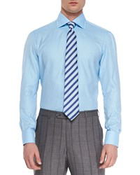 Isaia Solid Riva Woven Dress Shirt Aqua Blue