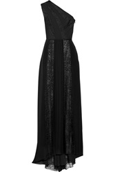 Tamara Mellon One Shoulder Lace Paneled Silk Chiffon Gown
