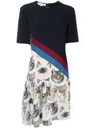 Stella Mccartney 'Bellucci' Cat Print Dress Blue