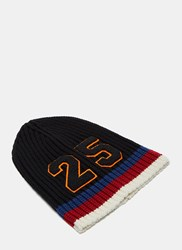 Gucci Striped Knit 25 Patch Beanie Hat Navy