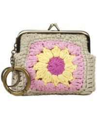 Patricia Nash Knit Squares Belice Coin Purse Tan Light Pink
