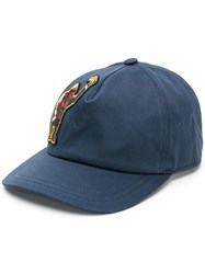 Etro Gorilla Patch Cap Blue