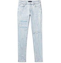 Amiri Distressed Paint Splattered Stretch Denim Jeans Blue