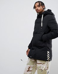 Sixth June Puffer Jacket With Side Detail In Black