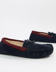 Totes Suedette Moccasin Slippers In Navy