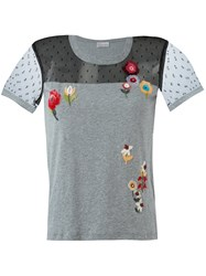 Red Valentino Floral Sequinned T Shirt Grey
