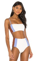 L Space Rebel Heart Bikini Top In White. Cream Peri Blue And Tobacco