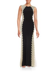 Xscape Evenings Petite Lace Accented Shimmer Gown Black Gold