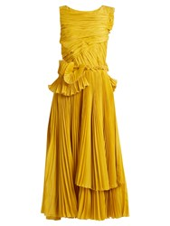 Rochas Pleated Cotton And Silk Blend Dress Yellow