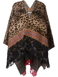 Ermanno Gallamini Leopard Print Cape Brown