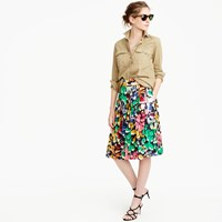 J.Crew Double Pleated Midi Skirt In Colorful Brushstroke Print