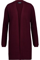 Magaschoni Ribbed Wool And Cashmere Blend Cardigan Burgundy