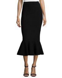 Milly Stretch Knit Mermaid Midi Skirt Black