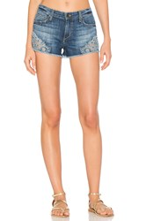 Joe's Jeans Embroidered Cut Off Short Medium Blue Embroidered