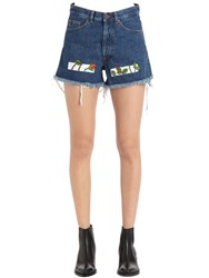Off White Roses Embroidered Cotton Denim Shorts