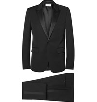 Saint Laurent Black Slim Fit Silk Trimmed Virgin Wool Tuxedo Black