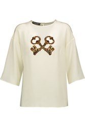 Dolce And Gabbana Sequin Embellished Silk Chiffon Top Ivory