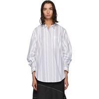 3.1 Phillip Lim Black And White Gathered Sleeve Shirt