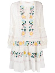 Tory Burch Embroidered Detail Dress White
